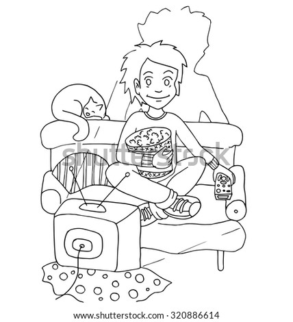 Young Boy Watching Tv Action Eat Stock Vektorgrafik Lizenzfrei