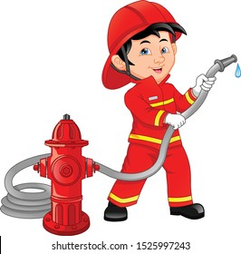 young boy wearing Fire fighter cartoon
