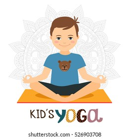 Young boy in yoga pose on white background with text. Vector icon