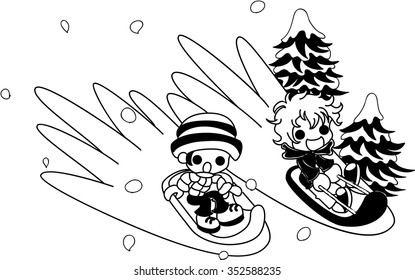 Young boys enjoying it on the sled on snow.