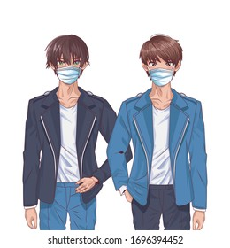 young boys using face masks anime characters vector illustration design
