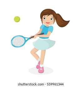 Young brown haired pretty girl in skirt playing tennis with a racket and a ball on a white background. Vector illustration in cartoon style