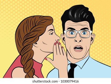 Young brown-haired woman whispering secret to man. The man is shocked. Pop Art Vector illustration. The file is organized into layers for easy editing.