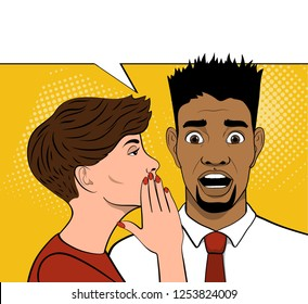 Young brown-haired woman whispering secret to African American man. Omg face. Shocked man. Pop Art Vector illustration