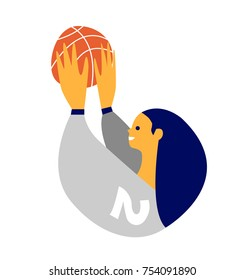 Young brunette female basketball player raising a ball. Simple graphics. Vector illustration.