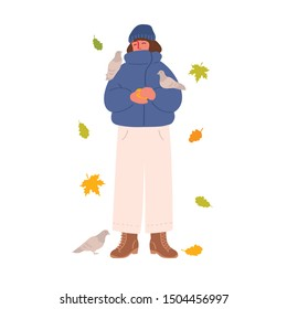Young brunette girl in a jacket and hat feeds pigeons. Autumn leaves. Character isolated on a white background. Vector illustration in hand drawn style.