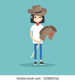 Young brunette girl wearing cowboy hat and riding hobbyhorse / flat editable vector illustration