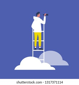 Young brunette male character standing on a ladder in the clouds and holding a spyglass. Business strategy. Success. Flat editable vector illustration, clip art
