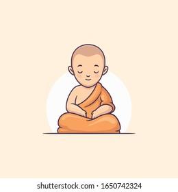 Young buddhist monk meditating vector cartoon illustration