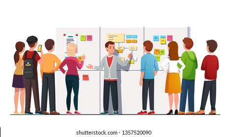 Young business leader man entrepreneur explaining answering students crowd group questions after workshop event lecture standing at big whiteboard with sticky notes diagram. Flat vector illustration