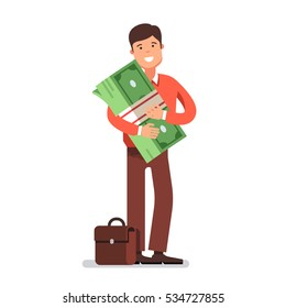 Young business man entrepreneur standing holding and hugging in his arms big cash money pack bundle. Modern flat style concept vector illustration isolated on white background.