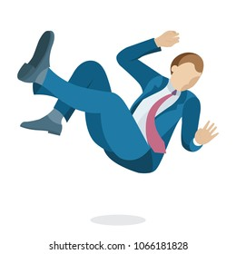 Young business man is falling down. Falling businessman character in flat cartoon style, vector illustration.