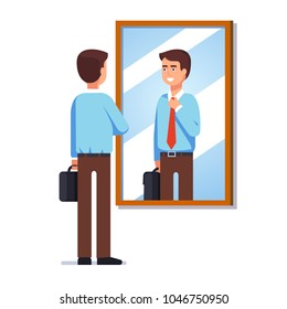 Young business man looking at his reflection in wall mirror fixing necktie. Corporate business employee getting ready for work. Flat style isolated vector illustration on white