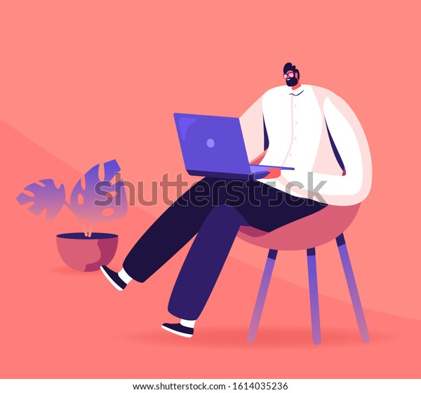 Young Business Man, Programmer, Creative Outsourced Employee Sitting on Chair Working on Laptop. Freelancer Work Remotely at Home or Coworking Place Using Smart Device. Flat Vector Illustration