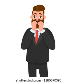 Young business man scared/terrified or shocked. Maybe he saw something frightening. Man keeping hands together on face and scared expression.  Emotion and body language concept in cartoon style.