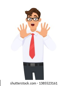 Young business man shocked, afraid, scared, and terrified with fear expression while opened mouth, stop gesture with palm hands, shouting. Human emotions, expressions concept illustration in cartoon.
