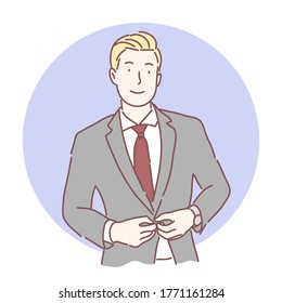 Young business man, smart, cool ,handsome guy in suit concept, Hand drawing character style vector.