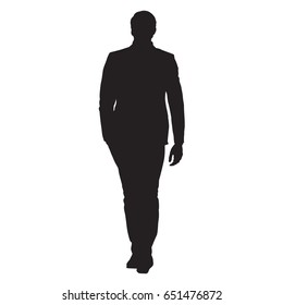 Young business man in suit goes forward with hand in his pocket, front view, isolated vector silhouette