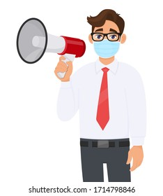 Young business man wearing medical mask and holding megaphone. Trendy person in eye glasses carrying loudspeaker. Modern lifestyle technology. Male character illustration design in vector cartoon.