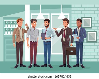 young business men workers characters vector illustration design