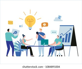 Young business people team. vector illustration banner. planning project marketing strategy concept. sharing ideas, preparing presentations, coaching women and men using laptop. flat cartoon design