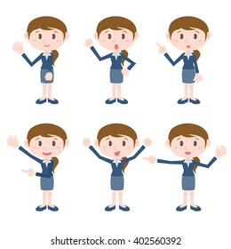 young business woman character various pose clip art set, vector illustration