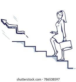 Young business woman go up the stairs. In her hand is a suitcase. It symbolizes career growth, promotion, successful business. Hand drawn doodle cartoon vector illustration.