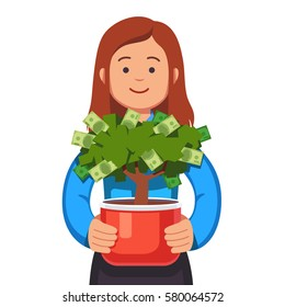 Young business woman holding flower pot with money tree in her hands. Small business owner concept. Startup business growth & care. Flat style modern vector illustration isolated on white background.
