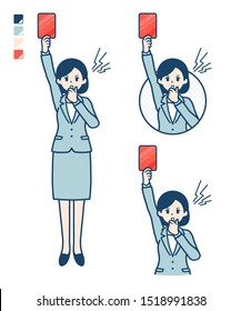 A young Business woman in a suit With a red card images.