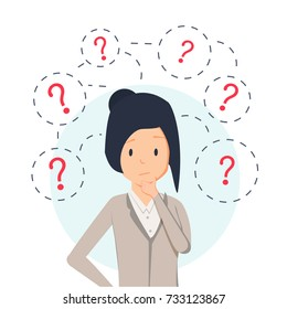 Young business woman thinking standing under question marks. Vector flat cartoon illustration character icon. Business woman surrounded by question marks concept. Women think