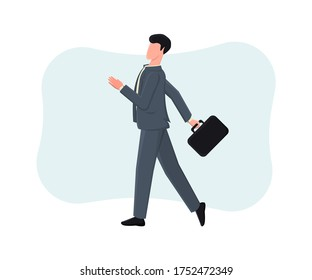 Young businessman after a successful deal goes home. Colorful vector illustration in cartoon style