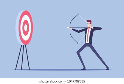 Young businessman aiming at the target with bow and arrow vector flat illustration. Young man in the suit arching in the target. Business concept goal and accuracy