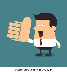 Young businessman with big thumb up, Business concept