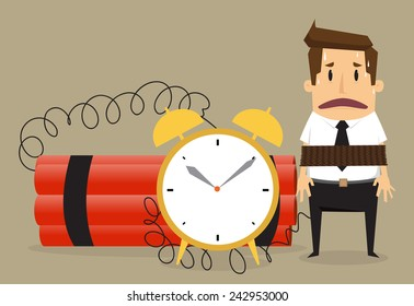 Young businessman  with binding time bomb, Business concept.vector