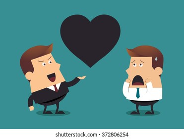 Young businessman and boss with big black heart, Business concept