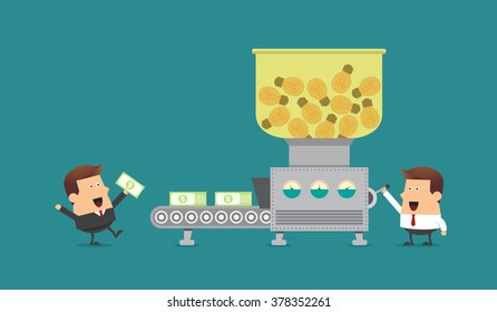 Young businessman and boss with money making machine, Business idea