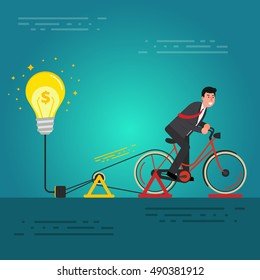 Young businessman or broker riding bicycle on a dynamo generator with light bulb. Brainstorming, birth of idea for startup concept. Business innovation image. Vector illustration