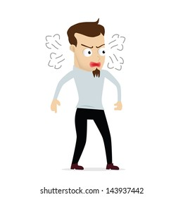 Young businessman cartoon angry, use in dialogs with other characters.