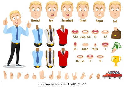 Young businessman character creation collection with various facial emotions, clothes, hand gestures and lips. Personage constructor for custom animation. Male clerk creation set vector illustration.
