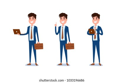 Young businessman character design. Set of guy acting in suit holds laptop, Different emotions, poses and running, walking, standing, sitting. Cartoon Vector Illustration.