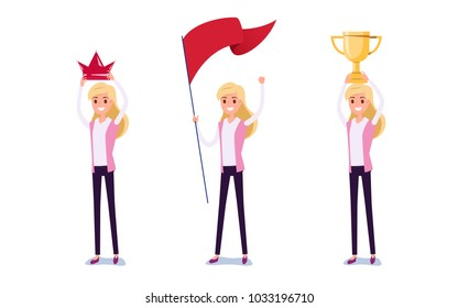 Young businessman character design. Set of business woman acting in suit holds crown, flag, trophy of success, Different emotions, poses and running, walking, standing, sitting. Cartoon Vector