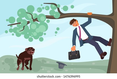 A young businessman climbed a tree fleeing an angry dog. Huge homeless aggressive mongrel attacks people. Flat Art Vector illustration