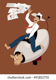 Young businessman in a cowboy hat riding a mechanical bull, throwing business papers in the air, EPS 8 vector illustration
