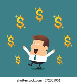 Young businessman with dollars sign, Business concept