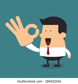 Young businessman gesturing okay, Business concept