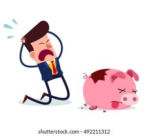 young businessman get desperate because of his piggy bank get broken