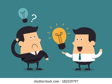 Young businessman give light bulb idea to boss, Business concept