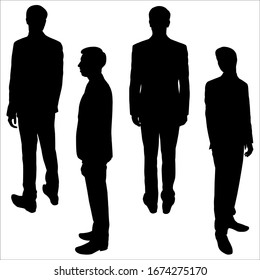 Young businessman. Guy in the suit. Vector illustration male silhouette stands. Four male poses: rear view, sideways, looking back. Black silhouette is isolated on a white background. Teamwork.