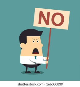 Young businessman holding a signboard that say no, Business concept