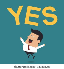 """Young Businessman Jumping With the Word """"Yes"""", Business Concept"""